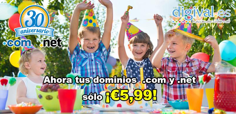 30 aniversaio dominios .com